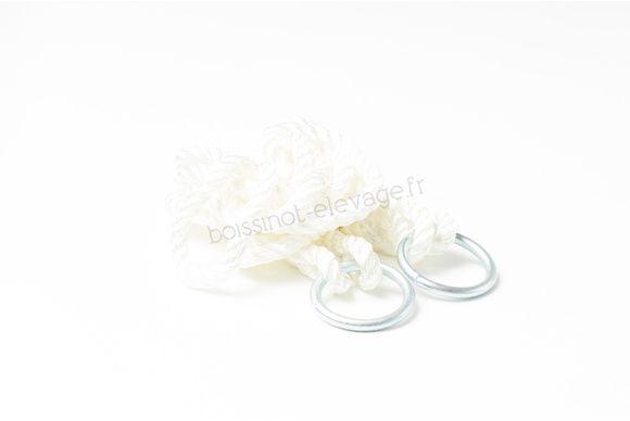 Cordes de vêlage nylon avec anneaux - la paire