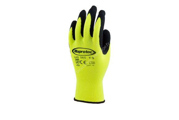 Gants polyester jaune fluo mousse de latex sur paume